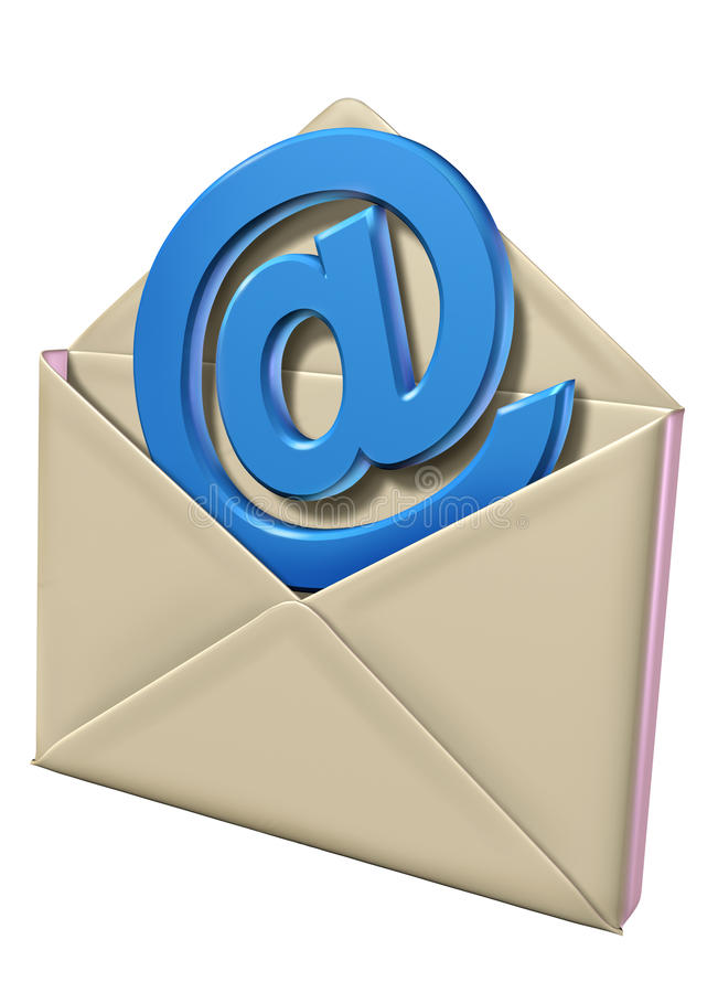 Email symbol with letter stock illustration
