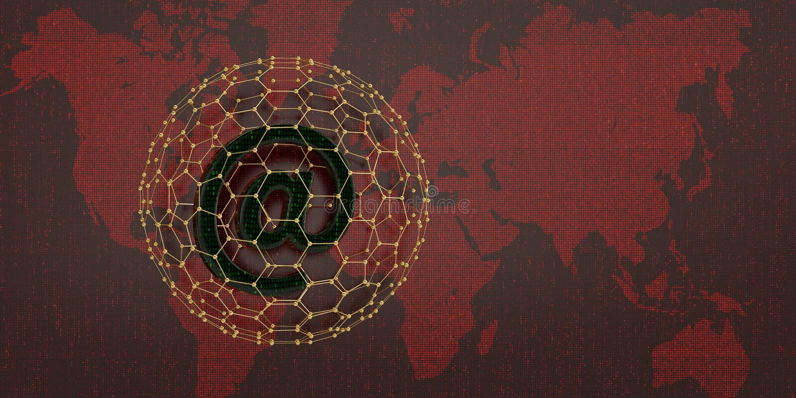 Email symbol on red digital world map. 3D illustration. Email symbol on red digital world map. 3D illustration stock illustration
