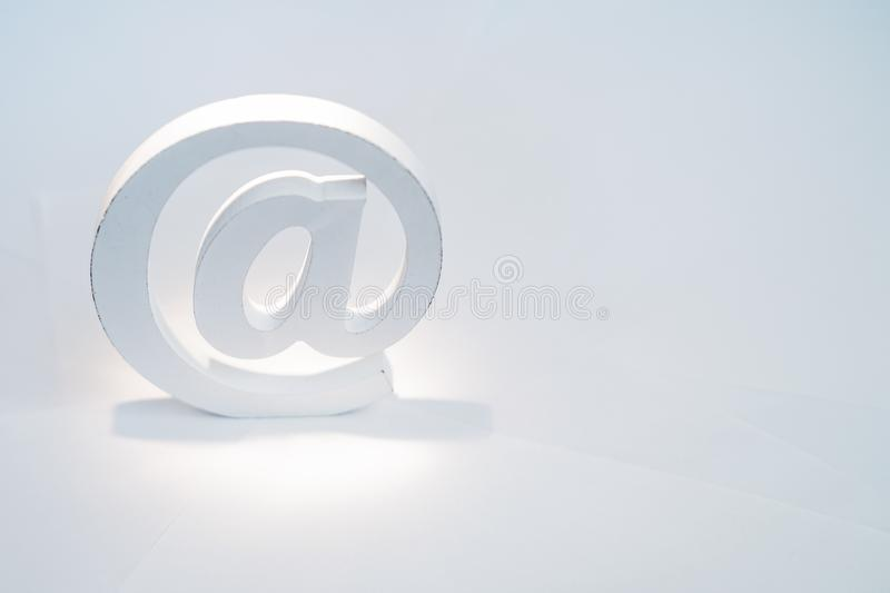 Email symbol on white background. Concept for internet, contact us and e-mail address stock photo