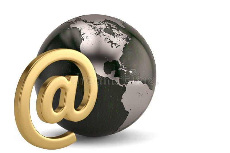 Email symboler och jordklot som isoleras på vit bakgrund illust 3d vektor illustrationer