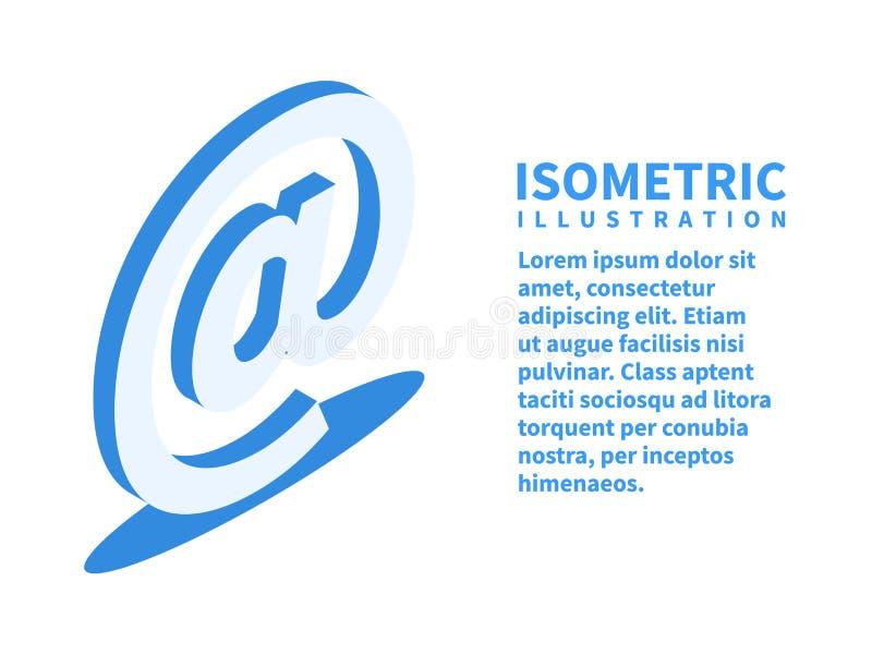 Email szyldowa ikona Isometric szablon dla sieć projekta w mieszkania 3D stylu również zwrócić corel ilustracji wektora ilustracji