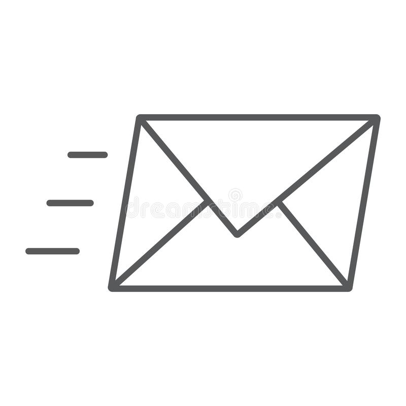 Email thin line icon, business and address vector illustration