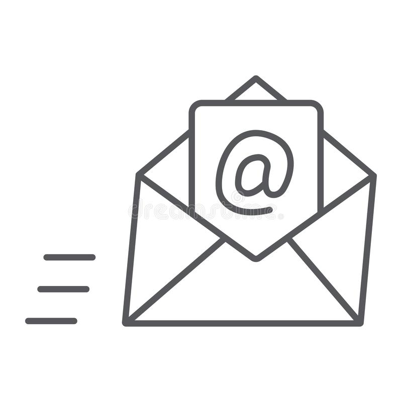 Email thin line icon, mail and letter, mail envelope sign, vector graphics, a linear pattern on a white background. Email thin line icon, mail and letter, mail royalty free illustration