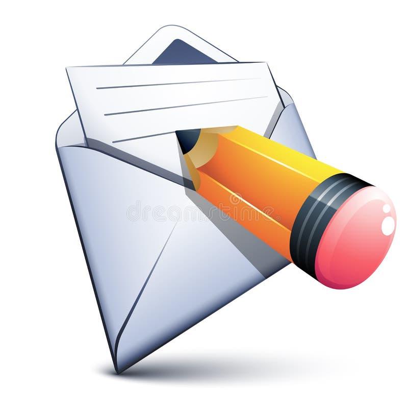 EMail und eine kleine Feder lizenzfreie abbildung