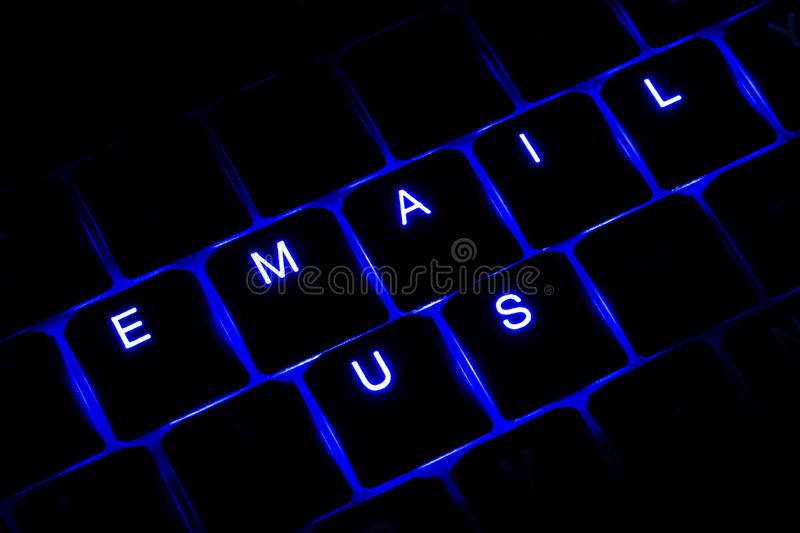 'Email Us' Illuminated Keyboard Text in Blue stock image