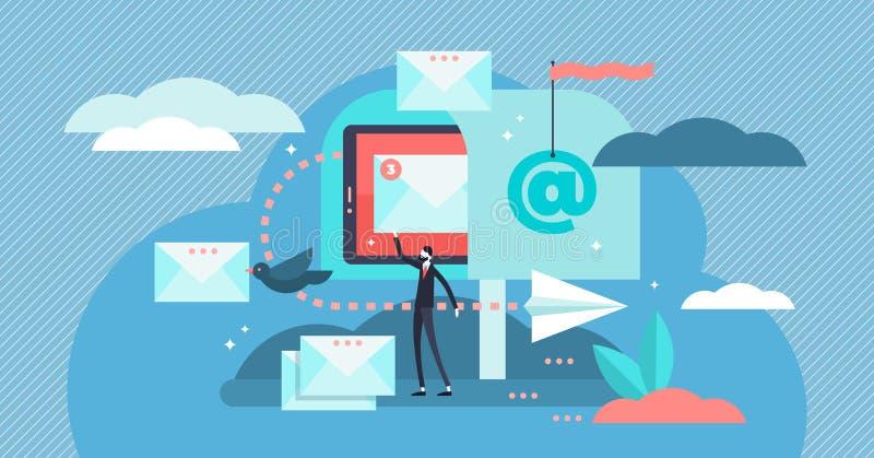 Email vector illustration. Flat tiny digital letter sending persons concept vector illustration