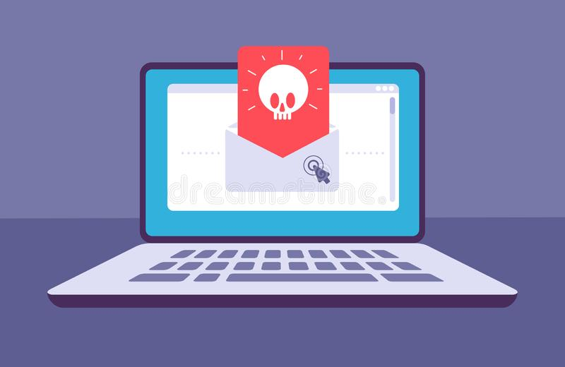Email virus. Envelope with malware message with skull on laptop screen. E-mail spam, phishing scam and hacker attack. Vector concept. Spam threat on laptop stock illustration