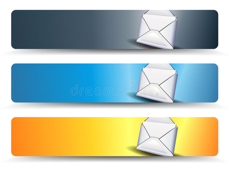 Email Web Banners. In three different colors vector illustration