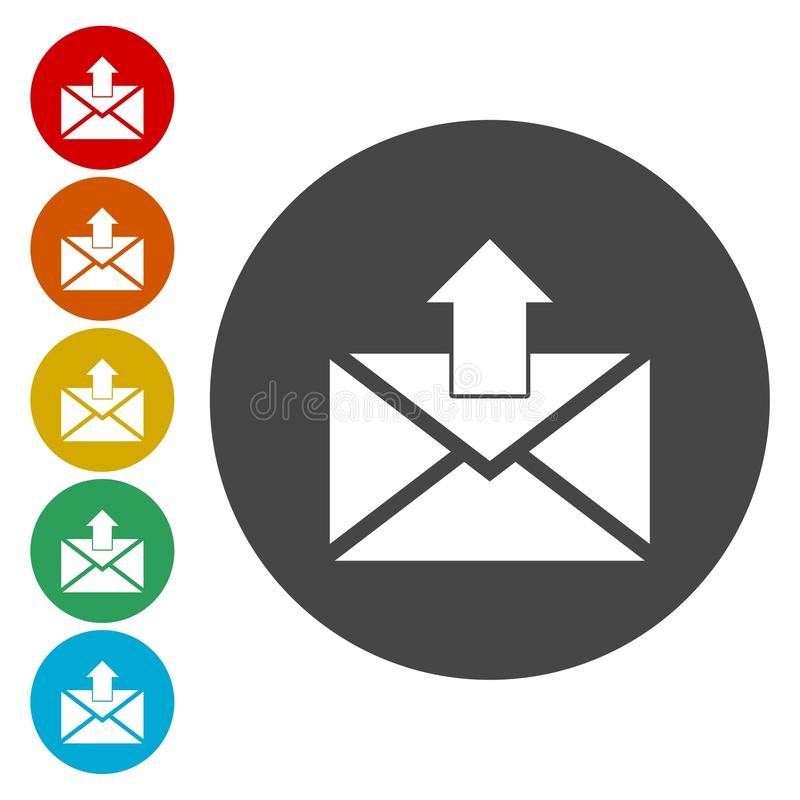Email web flat design circle icon.Mail icon. Envelope symbol. Message sign. royalty free illustration