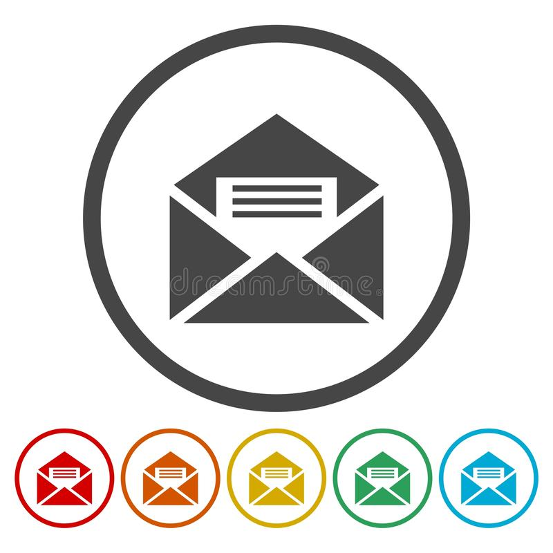 Email web flat design circle icon vector illustration