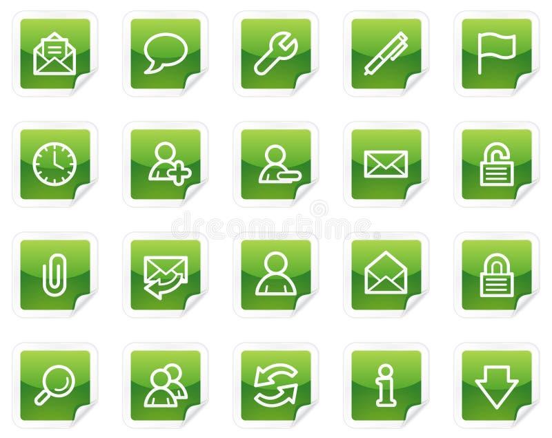 EMail-Web-Ikonen, grüne Aufkleberserie lizenzfreie abbildung