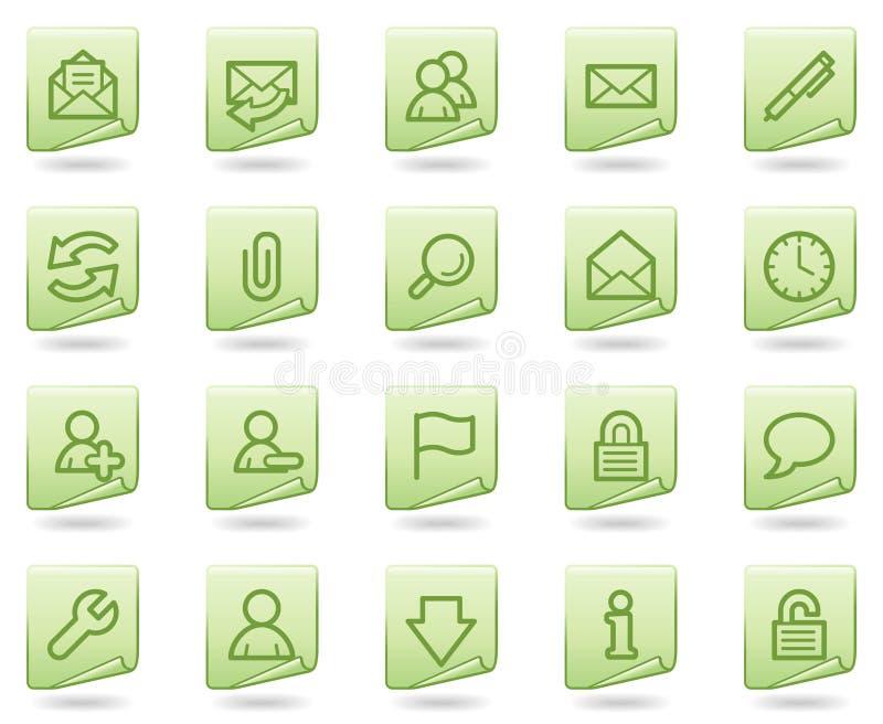 EMail-Web-Ikonen, grüne Dokumentenserie lizenzfreie abbildung