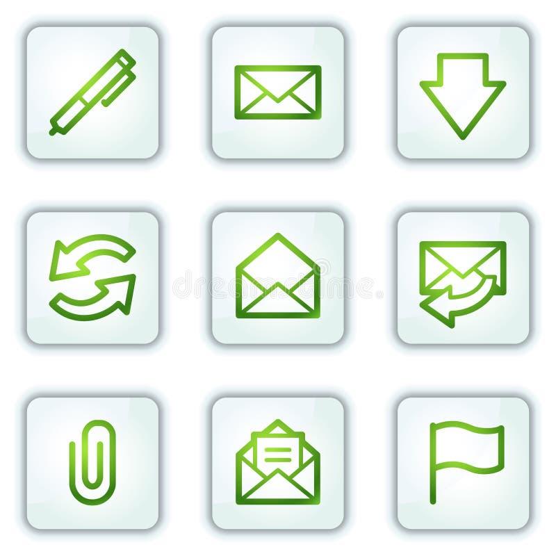 EMail-Web-Ikonen, weißes Quadrat knöpft Serie lizenzfreie abbildung