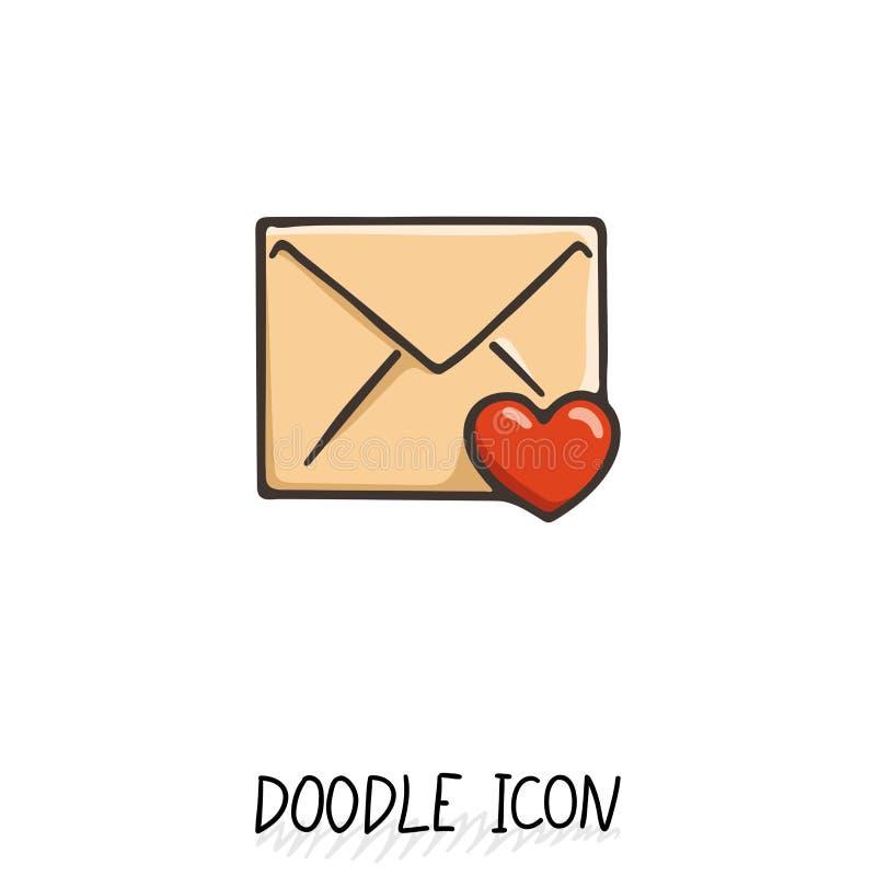 Emaila doodle ikona Wektorowy piktogram ilustracji