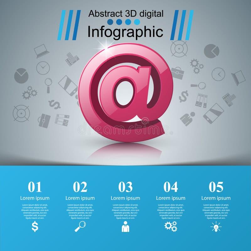 Emaila i poczta ikona Abstrakt 3D Infographic royalty ilustracja