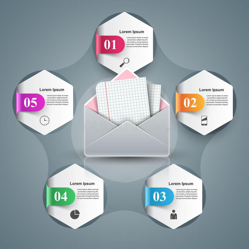 Emaila i poczta ikona Abstrakt 3D Infographic ilustracja wektor