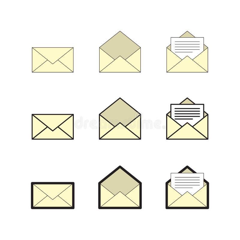 Emaila i skrzynki pocztowa ikony set, wektor eps10 ilustracji