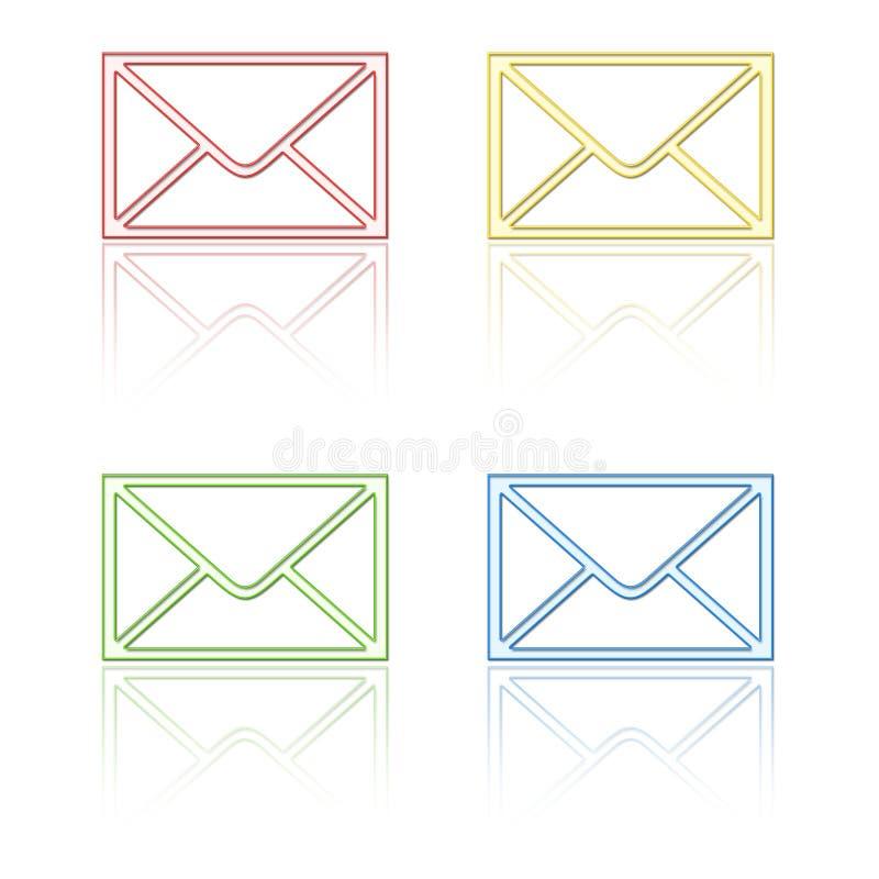 emaila ikon odbicie royalty ilustracja