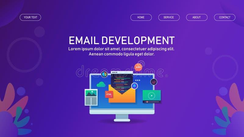 Emaila marketing, gazetka rozwój, email reklama, promocyjny pojęcie ilustracji