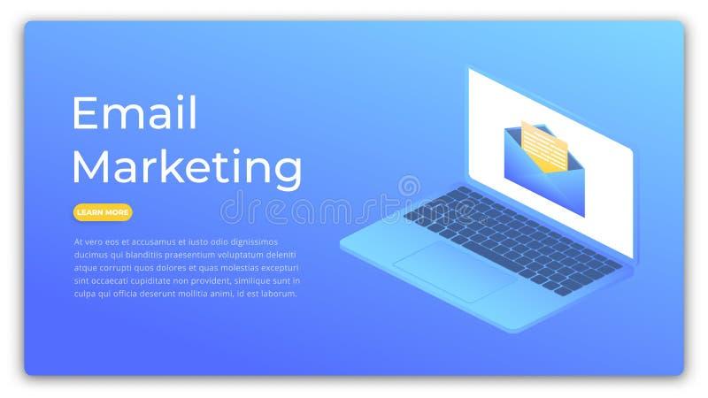 Emaila marketing Isometric pojęcie cyfrowa reklama, marketing, klienta celować Marketingowy sieć sztandar ilustracji