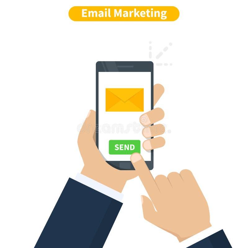 Emaila marketing Ludzka ręka trzyma smartphone z e-mailowym zastosowaniem Telefon komórkowy, ekran z nowym nieoczytanym emailem royalty ilustracja