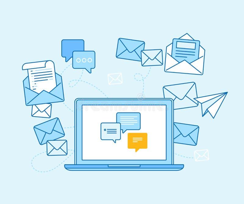 Emaila marketingowy pojęcie - laptop z opancerzaniem app ilustracji