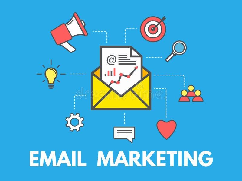 Emaila marketingowy pojęcie na błękitnym tle Email kampania reklamowa Koperta z biznesowymi ikonami Gazetka projekt royalty ilustracja