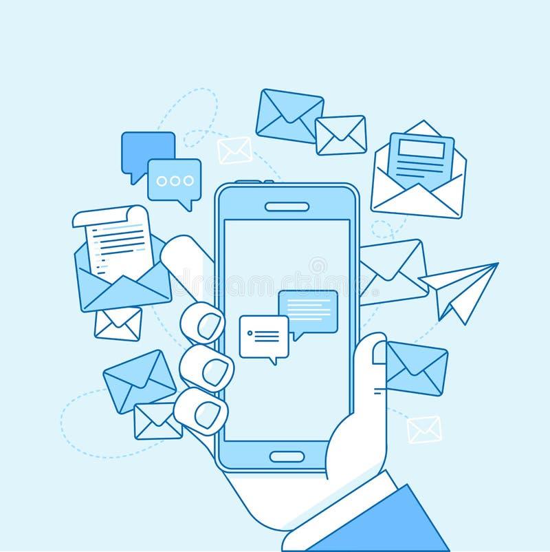Emaila marketingowy pojęcie - ręki mienia telefon komórkowy ilustracja wektor