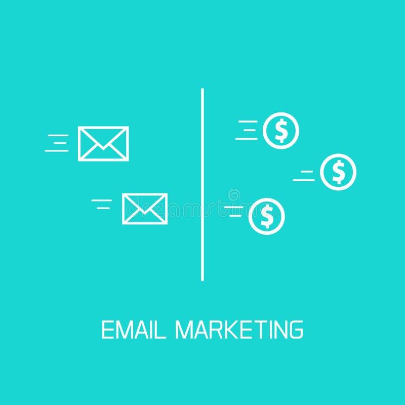 Emaila marketingowy wektor, zamiana e-mailowe koperty pieniądze monety płynie ikony ilustracja wektor