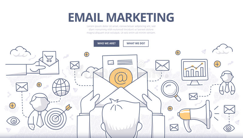 Emaila marketingu Doodle pojęcie ilustracja wektor
