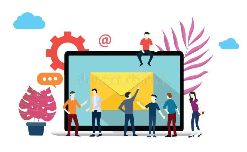 Emaila marketingu raportu biznesu drużyna spotyka brainstorming na biurze przed dużym laptopem ilustracja wektor