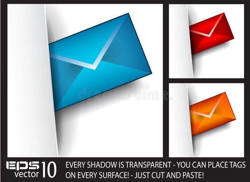 emaila papierowa cieni etykietka przejrzysta royalty ilustracja