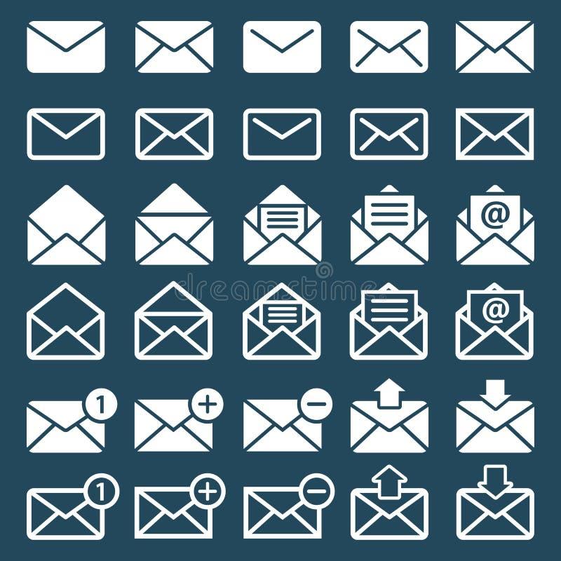 Emaila, poczta lub sms ikony, royalty ilustracja