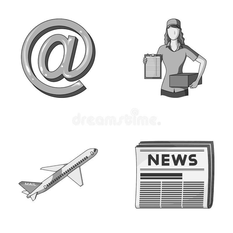 Emaila symbol, kurier z pakuneczkiem, pocztowy samolot, paczka gazety Poczta i listonosza ustalone inkasowe ikony wewnątrz ilustracji