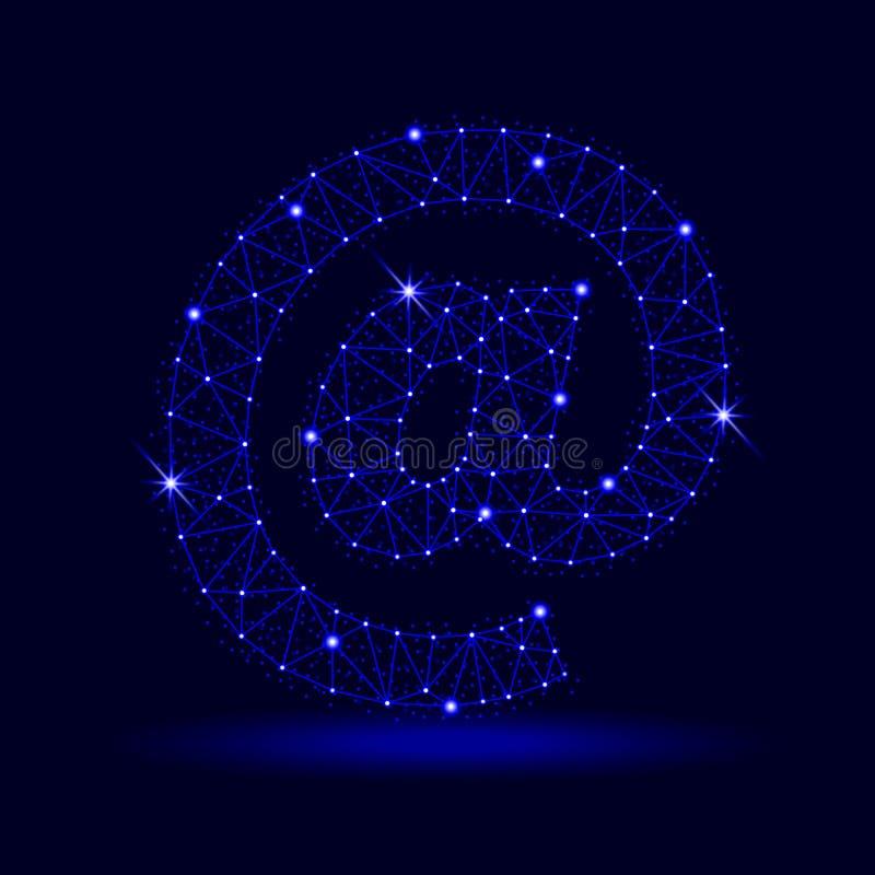 Emaila symbol od wieloboków, niski poli- styl Abstrakcjonistyczny internet PRZY symbolem i Rozjarzony neonowy internet PRZY symbo ilustracji