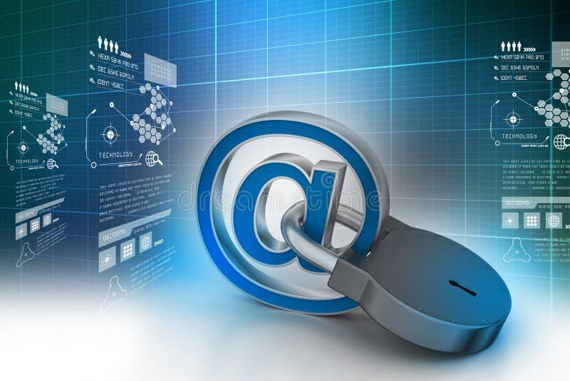 Emaila znak z kłódką ilustracja wektor