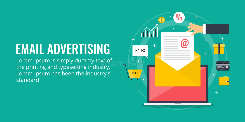 Emailadvertizing - modernt emailbegrepp Plan design stock illustrationer