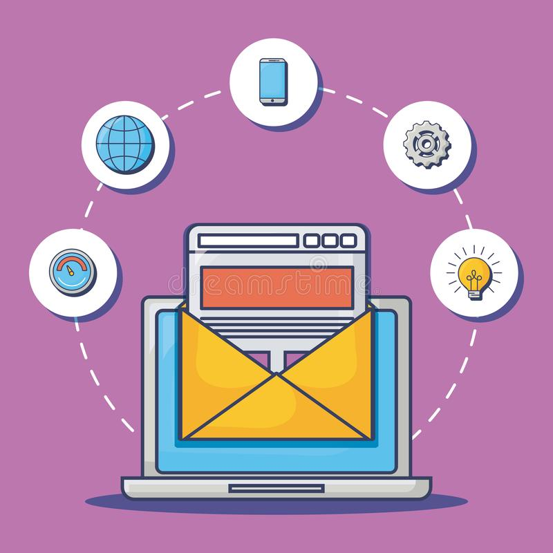 Emailadvertizingdesign vektor illustrationer
