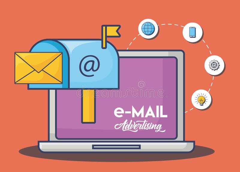 Emailadvertizingdesign vektor illustrationer