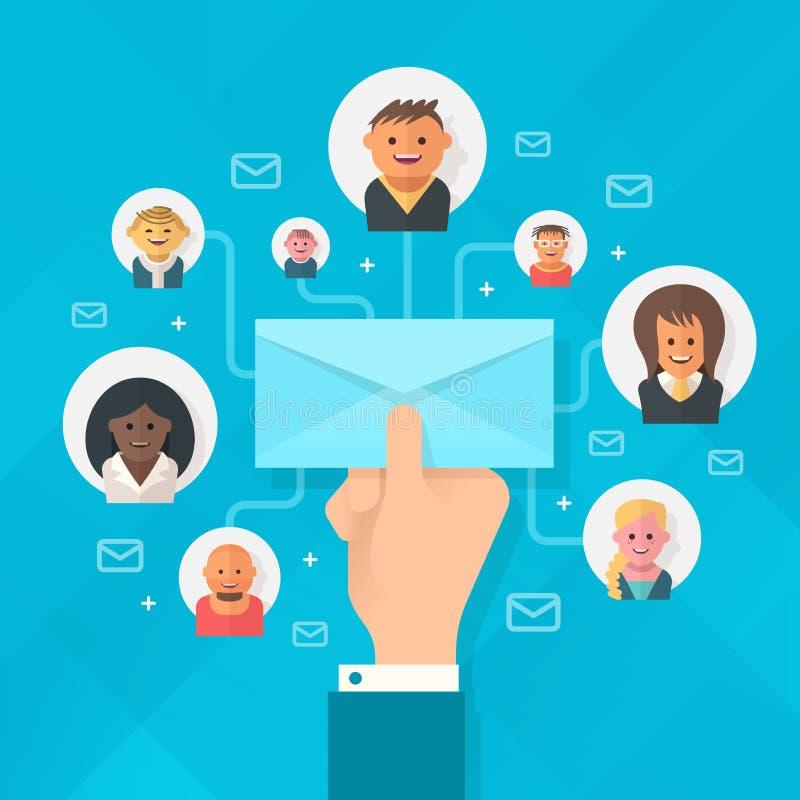 Emailaktion stock illustrationer