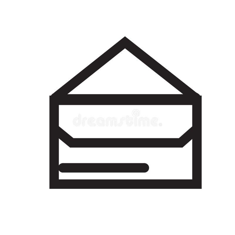 Emailen Sie das Umschlagknopfikonenvektorzeichen und -symbol, die auf wh lokalisiert werden vektor abbildung