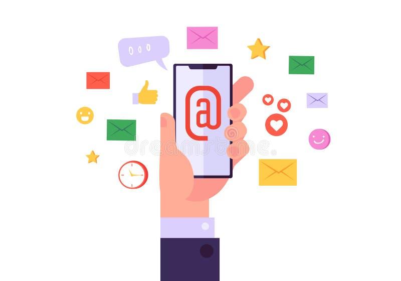 Emailen Sie Networkmarketing-Digital-Ikonen-Satz Geschäfts-globaler Werbungsinhalt auf Handy-moderner Internet-Technologie lizenzfreie abbildung