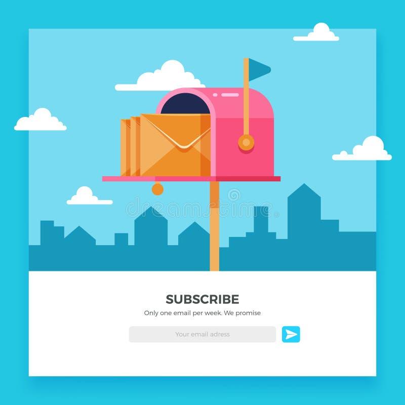 Emailen Sie unterzeichnen, on-line-Newslettervektorschablone mit Briefkasten und senden Knopf vektor abbildung