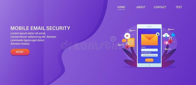 Emailinloggningstillträde, emaildataskydd, cybersäkerhet, säker mobil inloggning, lösenord, avskildhet, begrepp, rengöringsdukban royaltyfri illustrationer