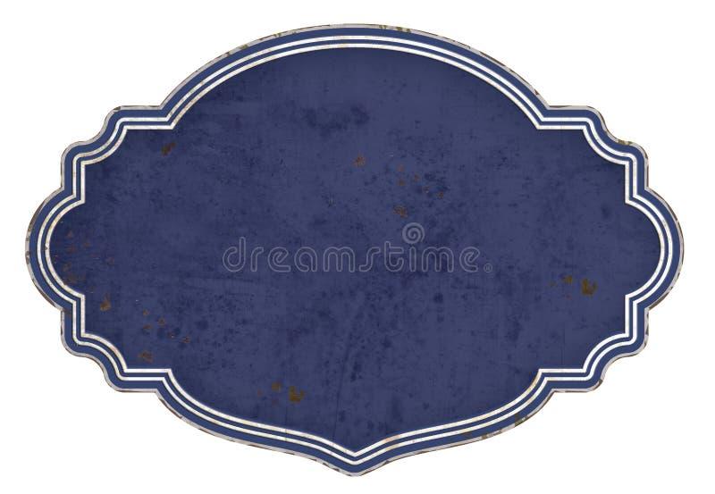 Emailleschild-leere blaue Hintergrund-Plakette lizenzfreie stockbilder