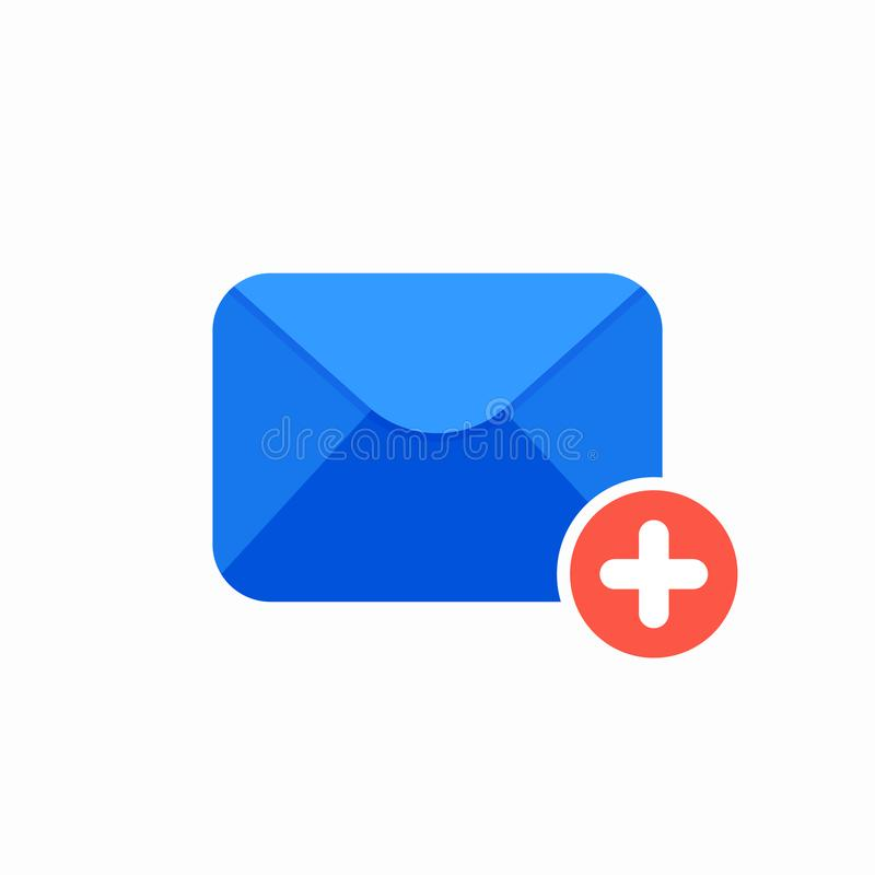Emailmeddelande plus symbol royaltyfri illustrationer
