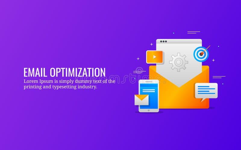 Emailoptimization, digital marknadsföra aktion för åhörare, informationsbladmarknadsföring Plant designvektorbaner vektor illustrationer