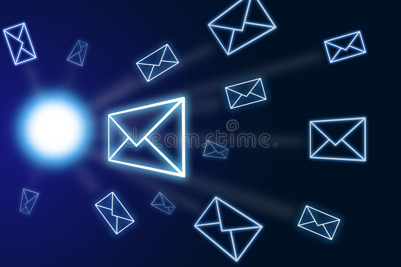 Emails. Lots of mail - blue background royalty free stock photos