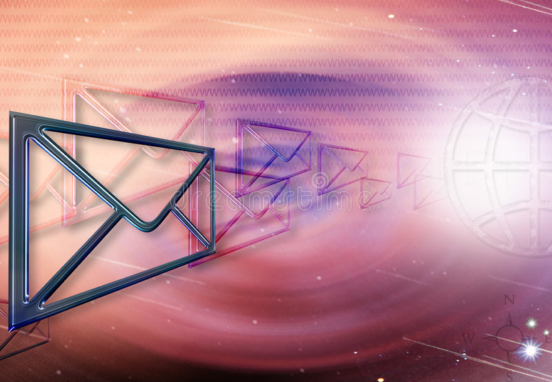Emails In Cyberspace stock illustration