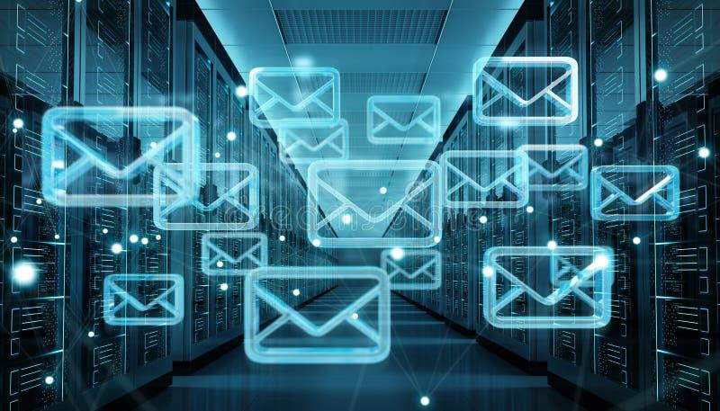 Emails exchange over server room data center 3D rendering. Digital white emails exchange over server room data center interior 3D rendering stock illustration